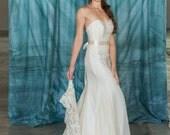Simple Mermaid Wedding Dress, Chiffon Silk Wedding Dress, Strapless Sweetheart Neckline Eco Friendly, Wedding dress alternative, lace dress
