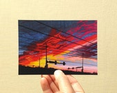 "Postcard ""Burning Ember Sky"", 4x6 inches, high gloss, UV protection, professionally printed, Wyoming postcard"