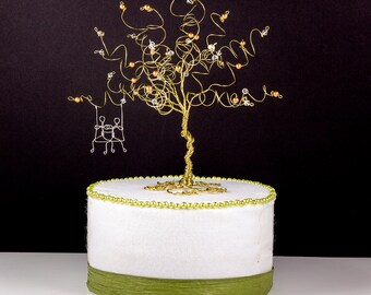 Same Sex Wedding Cake Topper Custom Wire Tree Sculpture with Couple on a Swing