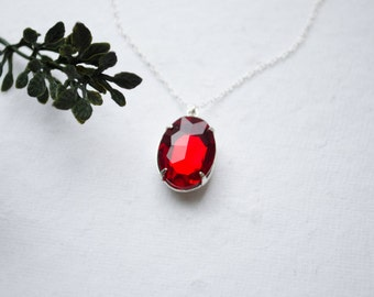 Red Necklace - Crystal Jewel Necklace
