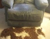 Jacob Sheep Pelt Rug -- Naturally Tanned Lambskin Fleece -- Black/White Spots