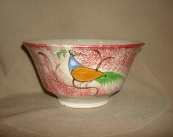"SPATTERWARE PEAFOWL Bowl ~ RED (6-3/4""w x 3-1/2""h) ~ Antique Soft Paste Spongeware c1830"