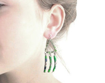 Silver dangle earrings, triangle beaded earrings, sterling silver studs, green earrings, green lampwork beads