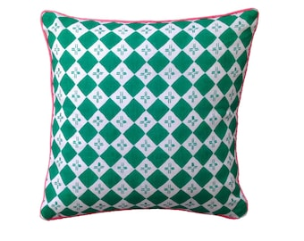 SALE: Green Checkers linen cushion cover