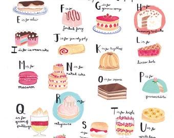 Alphabet of Cake A3 Art Print