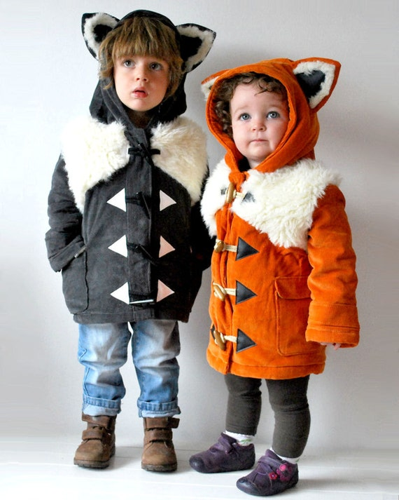 Items Similar To Matching Kids Coats Two Animal Fox Wolf FREE SHIPPING Twins Pair Furry Lined ...