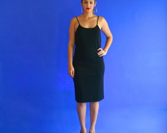 black tank dress/ little black dress slip/ 1990s/ small - medium