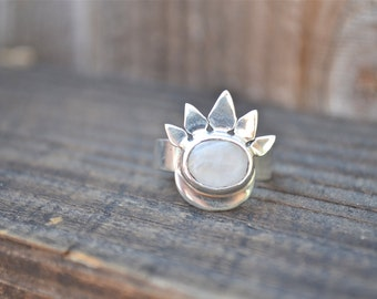 Moonstone Eclipse Ring by Heart Majestic// Moonstone Jewelry//Sun Rings///Moonstone Rings//Moon Rings