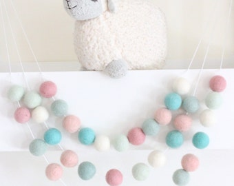 Pink Mint Aqua Felt Ball Garland-Pom Pom Bunting- Baby Shower Decor- Pastel Decor-Sweet Life - Pastel Nursery- Pastel Garland- Nursery Decor