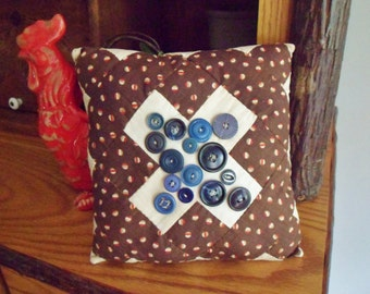 Handmade Patchwork Pillow, Small Brown Pillow with Vintage Buttons