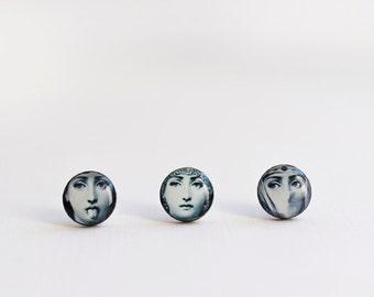 Fornasetti stud earrings, Lina Cavalieri stud earrings, fornasetti earrings, italian jewelry, fornasetti stud earrings, tiny earrings /STD20