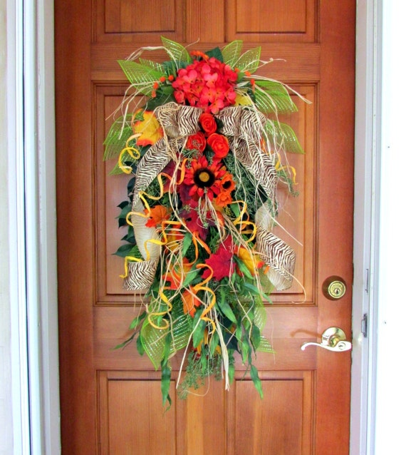 Fall Door Swags: Fall Wreath Fall Swag Wreath Autumn Wreath Fall Door