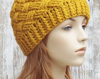 Crochet Beanie Hat - Gold Mustard Yellow Beanie - Womens Basketweave Beanie Hat -  Winter Crochet Hat // THE BRISTOL //