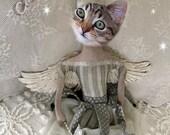Dream Big Little One, Cat Print, Anthropomorphic, Whimsical Art, Collage Art, Animal Print, Funny Animals, Nursery Decor, Gift for a Girl