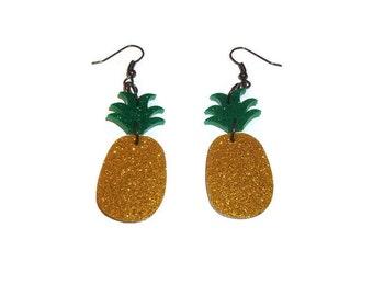 Pineapple Earrings Kitsch Fruit Dangle Earrings, Glitter, Laser Cut Acrylic Perspex Quirky