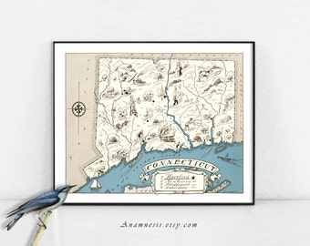 CONNECTICUT MAP - Instant Download - fun printable vintage picture map for framing, totes, cards, mugs, pillows, fabric, wedding gifts, tags