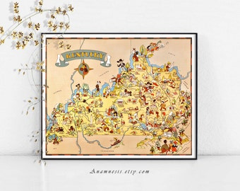 KENTUCKY MAP - Instant Digital Download - printable vintage picture map for framing, crafts, housewarming or wedding gift, totes, cards