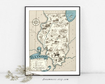 ILLINOIS MAP - Instant Digital Download - printable map art for framing - lovely on totes, pillows & cards - fun picture map home decor
