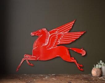 """Vintage Porcelain Sign / 1930's / Original Porcelain Mobil Pegasus Service Station Sign / Mobil """"Flying Horse"""" Gas Station Sign / Home Decor"""