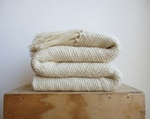 Chunky Ecru wool woven Blanket, natural organic merino wool, Off White warm throw blanket