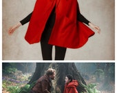 Red Wool Hooded Cape Cloak in Winter, Christmas Gift Coat Jacket, Hooded Cashmere Coat, LIttle Red, Wool Jacket, Winter Coat, Wool Cloak