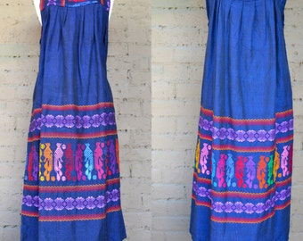 1970s Hand Embroidered Bohemian South American Multicolored Ethnic Maxi Dress