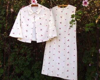 Vintage Capelet Dress  . 60s two-piece floral dress . Easter Dress