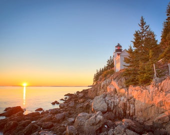 Bass Harbor Light Photograph - Maine Lighthouse - Landscape Print - New England - Sunset Photo - Acadia National Park - Mount Desert Island