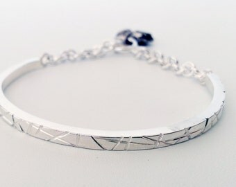 Handmade Sterling Silver Bracelet, Simple and Modern Jewelry Design, Uniqie and Clean Looking Half Bangle with Organic Shape Charm