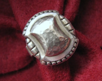 Vintage FRENCH Arts & Crafts Sterling Silver Ring -- Fully Hallmarked, 6.2 Grams, Size 6-1/2, Excellent Condition