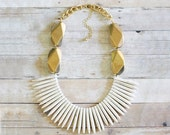 Gold and Ivory Spike Statement Necklace, Spike Necklace, Chunky Gold Necklace, Tribal Bib Necklace