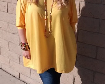 Yellow Oversized Tee ~ Long Sleeve Crew Neck Knit Tunic ~ Slouchy Jersey Tunic ~ All Sizes / Colors