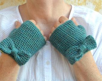 Bow mittens, knit fingerless gloves, teal blue crochet wristwarmers