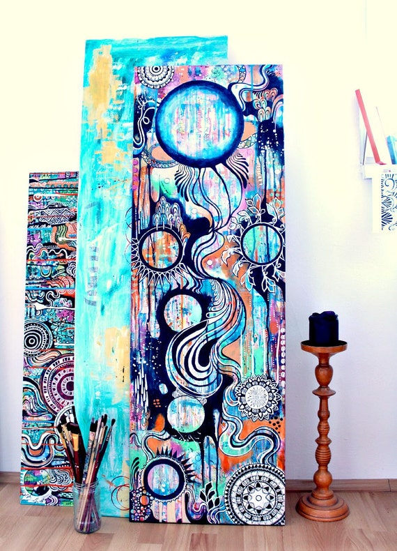 REINVENTION - original acrylic painting, hippie art, in dark blue orange pink green and white, featuring dripping paint, layers and mandalas