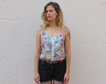 Psychedelic floral Tank top, Sale, Unique sleeveless top, Button up top, Summer top, Printed Shirt, Colorful top, Hippie top, Retro top