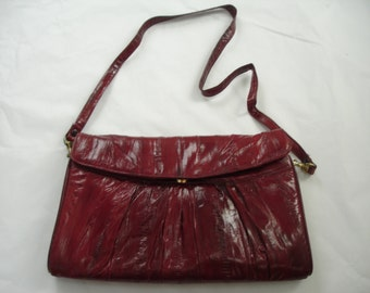 Marsala Oxblood Vintage Genuine Eel Skin Handbag with Shoulder Strap and Suede Lining