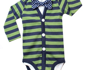 Baby Boy Cardigan and Bow Tie Set - Green with Navy Dot - Trendy Baby Boy - cardigan onesies