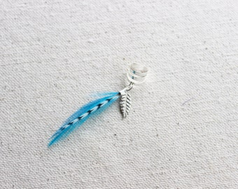 Turquoise Feather Ear Cuff in Silver