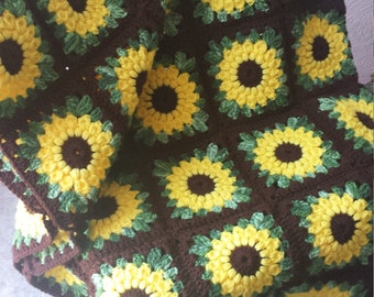Sunflower Crocheted Blanket