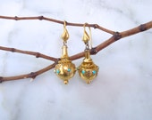 18K Gold Etruscan Earrings - Antique All Gold Victorian Turquoise Snake Earrings- 1800's