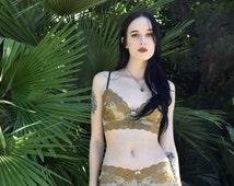 Limited Edition Dreamy Golden Olive Lace Lingerie Set - by Aniela Parys Designs