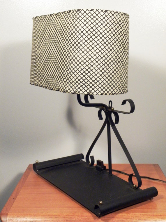 new mid century desk hanging lamp with shelf and shade. Black Bedroom Furniture Sets. Home Design Ideas