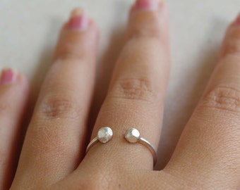 Sterling silver adjustable ring everyday ring minimal ring handmade ring nugget ring stackable ring dainty ring - amejewels