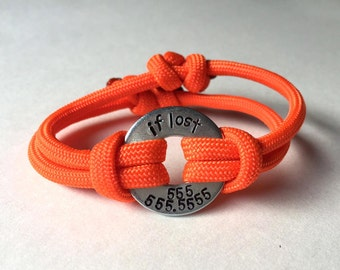 IF LOST Bracelet - Great for Vacations- Personalized One Washer Double Strap Paracord Bracelet