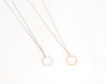 ESSENTIAL SM. (gold/silver) tiny hexagon necklace. minimal necklace. layer necklace. geometric necklace. micah 6:8. everyday jewelry. gift.