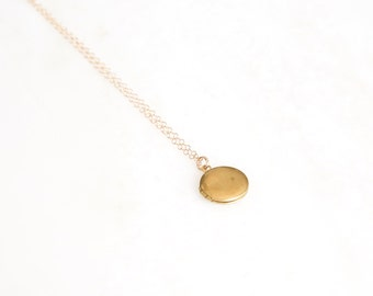 ECLIPSED SM. small brass locket necklace. layer necklace. everyday necklace. sentimental necklace. in memory of. sympathy gift. locket.