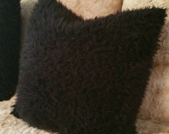 Black Faux Llama Pillow Covers in All Sizes Including, Euro Shams, King and Standard Pillow Shams, Body Pillow Covers