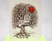 Dream Tree House. New Home. Moving. New Address. Dream House. Red Sunset. Easy Living. Happy Home. Blank A2 size card with Green Envelope.