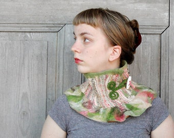 Nuno felted collar, neck warmer with wool frill , woman winter fashion, merino wool and vintage fabric with gold and silver thread,  OOAK