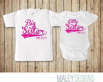 Matching Sibling Shirts, Big Sister Little Sister Outfits, Personalized Set of Two, Coordinating Sibling Outfits